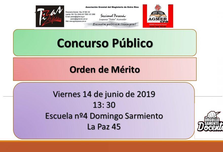 Viernes 14 de Junio de 2019. Concurso Publico. Cargos y Orden de Merito