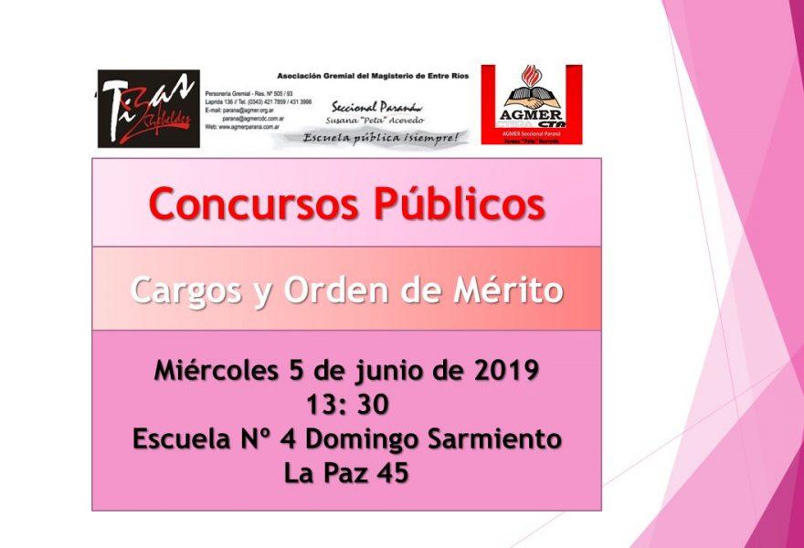 Miércoles 5 de junio de 2019. Concursos Públicos. Cargos y Orden de Mérito