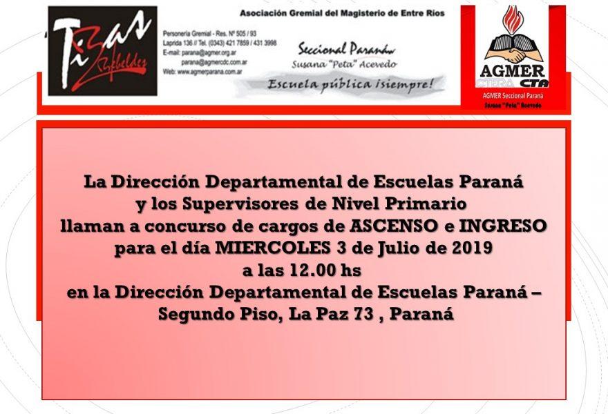 Miércoles 3 de Julio de 2019. Concurso de Cargos de Ascenso e Ingreso. Nivel Primario