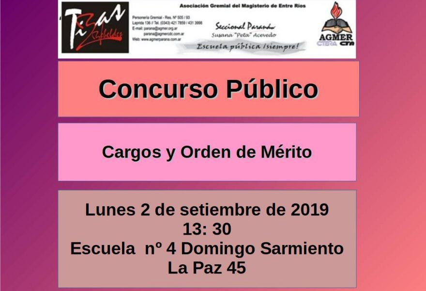 Lunes 2 de setiembre de 2019. Concurso Público. Cargos y Orden de Mérito