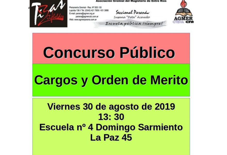 Viernes 30 de agosto de 2019. Concurso Público. Cargos y Orden de Mérito