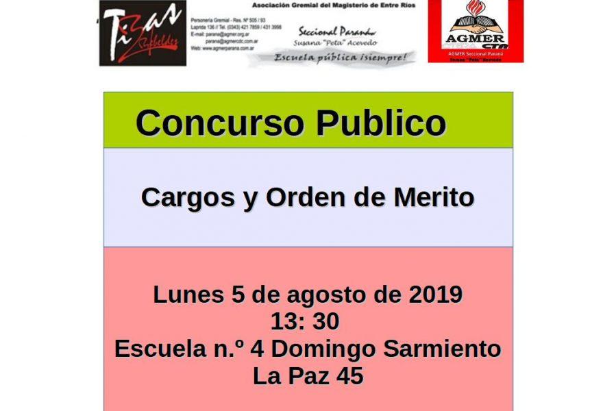 Lunes 5 de agosto de 2019. Concurso Público. Cargos y Orden de Mérito