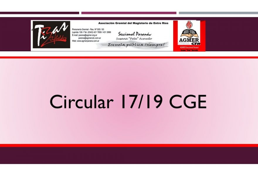 Circular 17/19 CGE