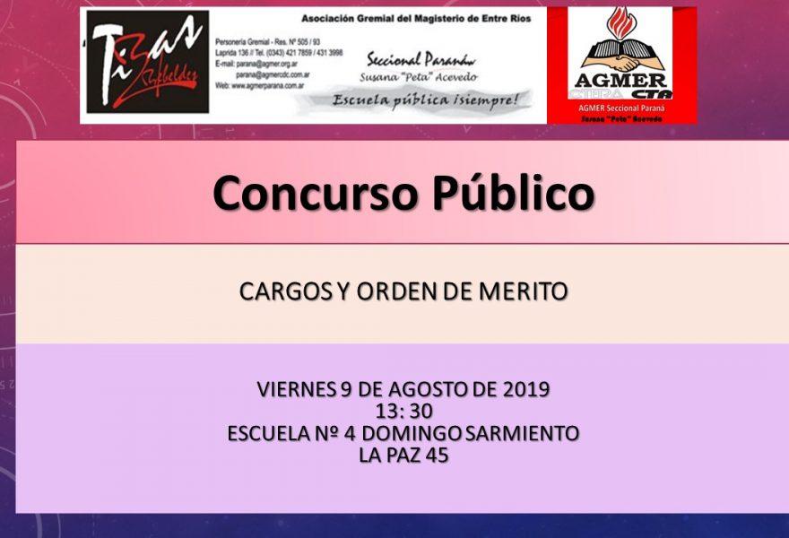 Viernes 9 de agosto de 2019. Concurso Público, Cargos y Orden de Merito