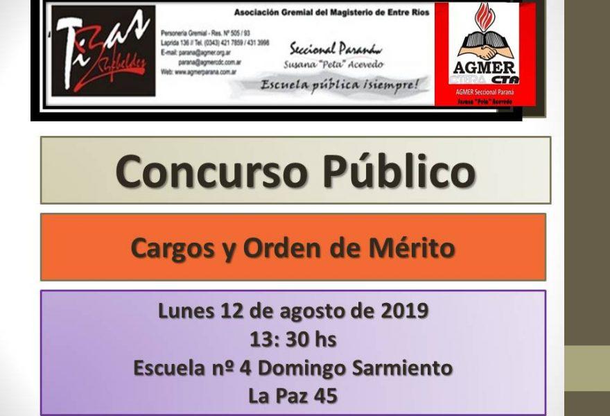 Lunes 12 de agosto de 2019. Concurso Público. Cargos y Orden de Mérito