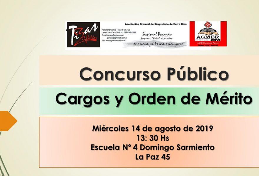 14 de agosto de 2019. Concurso Público. Cargos y Orden de Mérito