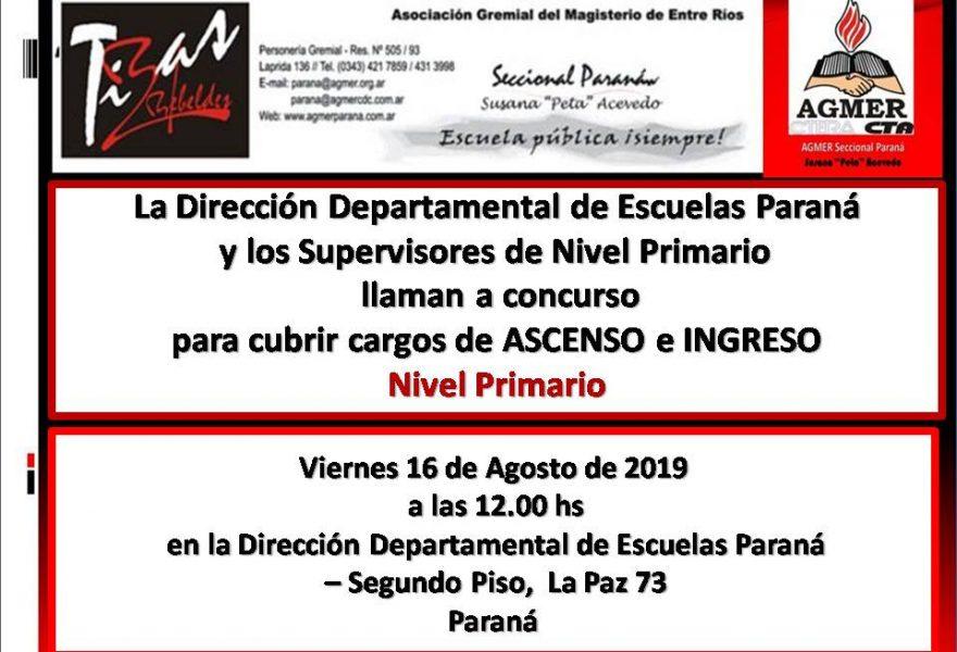 16 de agosto de 2019. Concurso de Ascenso e Ingreso: Nivel Primario