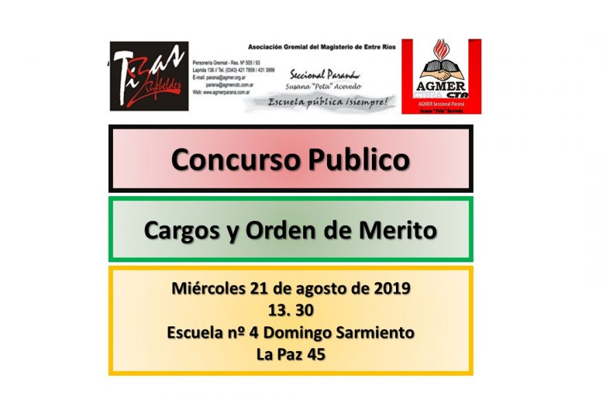 Miércoles 21 de agosto de 2019. Concurso Público. Orden de Mérito