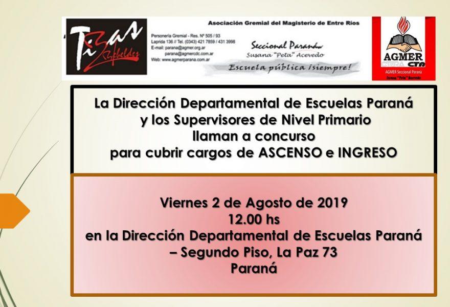 Viernes 2 de agosto de 2019. Concurso de Cargos de Ascenso Nivel Primario