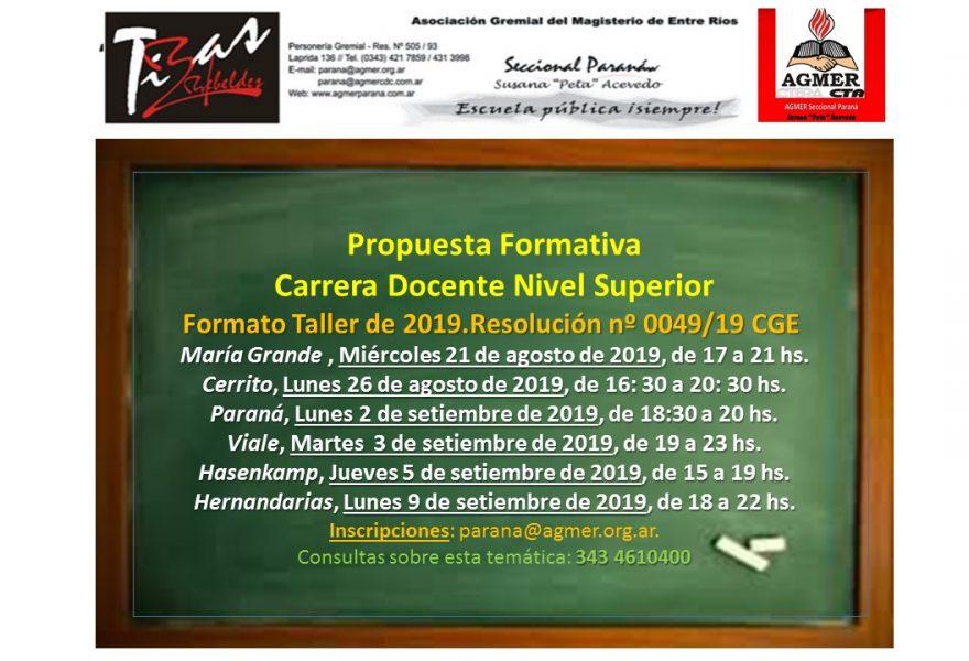 Cronograma de  Propuesta Formativa. Carrera Docente Nivel Superior . Formato Taller de 2019. Resolución nº 0049/19 CGE