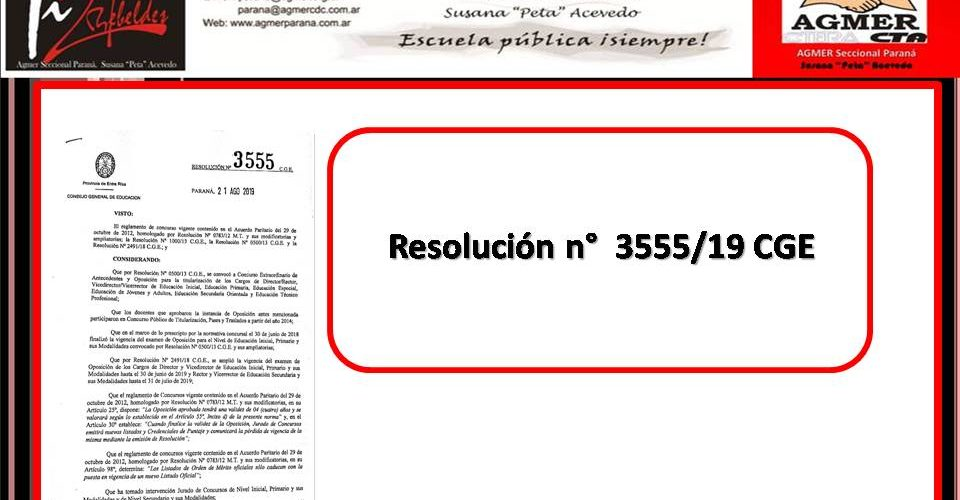 Resolución n° 3555/19 CGE