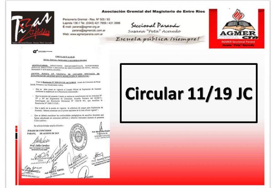Circular 11/ 19 JC