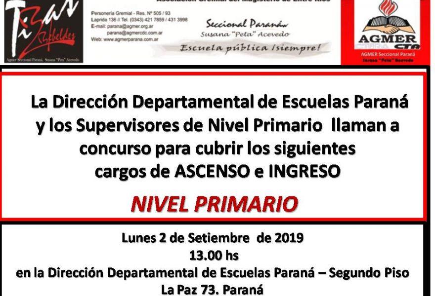 Lunes 2 de setiembre de 2019. Concurso de Ascenso e Ingreso. Nivel Primario