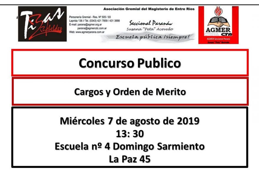 Miércoles 7 de agosto de 2019. Concurso Publico. Cargos y Orden de Merito