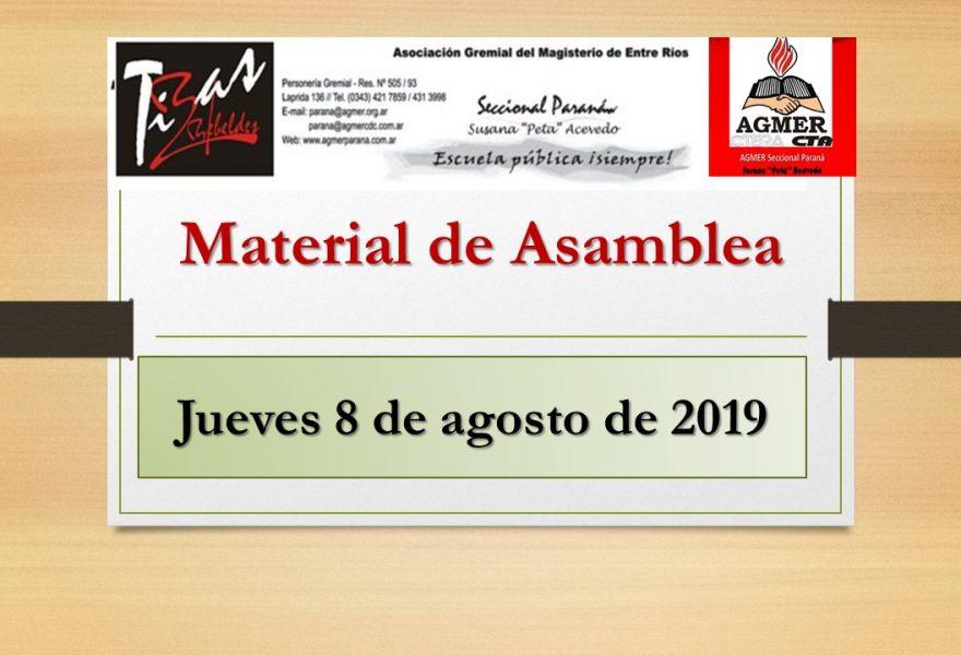 Jueves 8 de agosto de 2019. Material de Asambleas en las escuelas