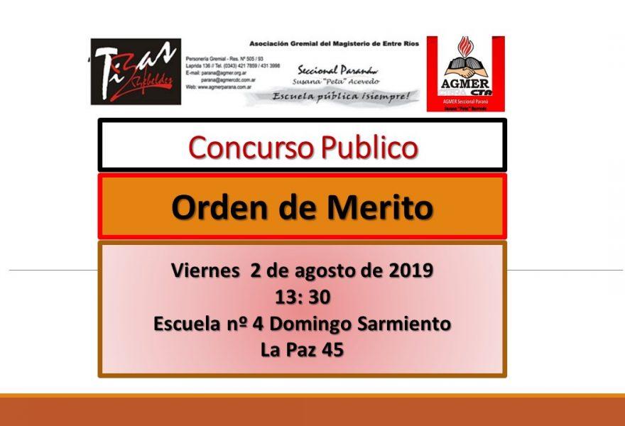2 de agosto de 2019. Concurso Publico. Cargos y Orden de Merito