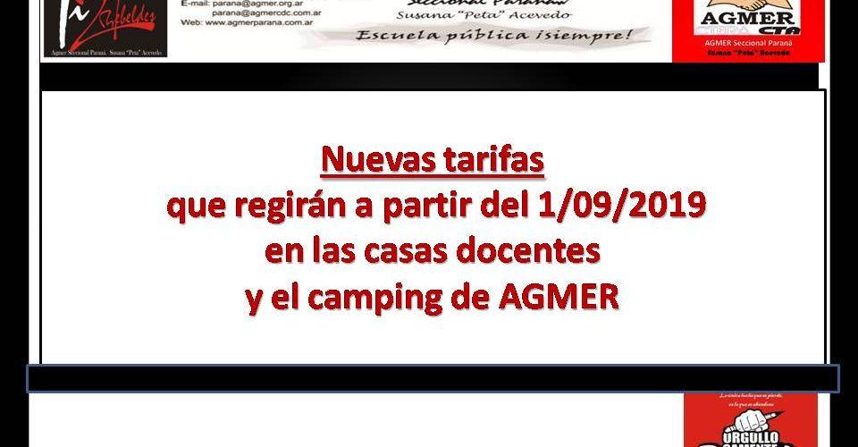 Nuevas tarifas que regirán a partir del 1/09/2019 en las casas docentes y el camping de nuestro sindicato