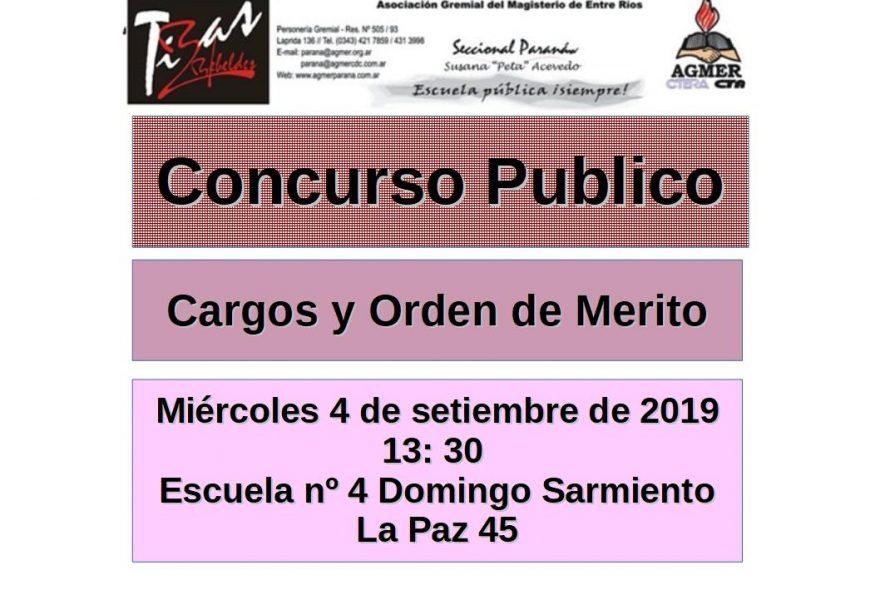 Miércoles 4 de setiembre de 2019. Concurso Público. Orden de Mérito