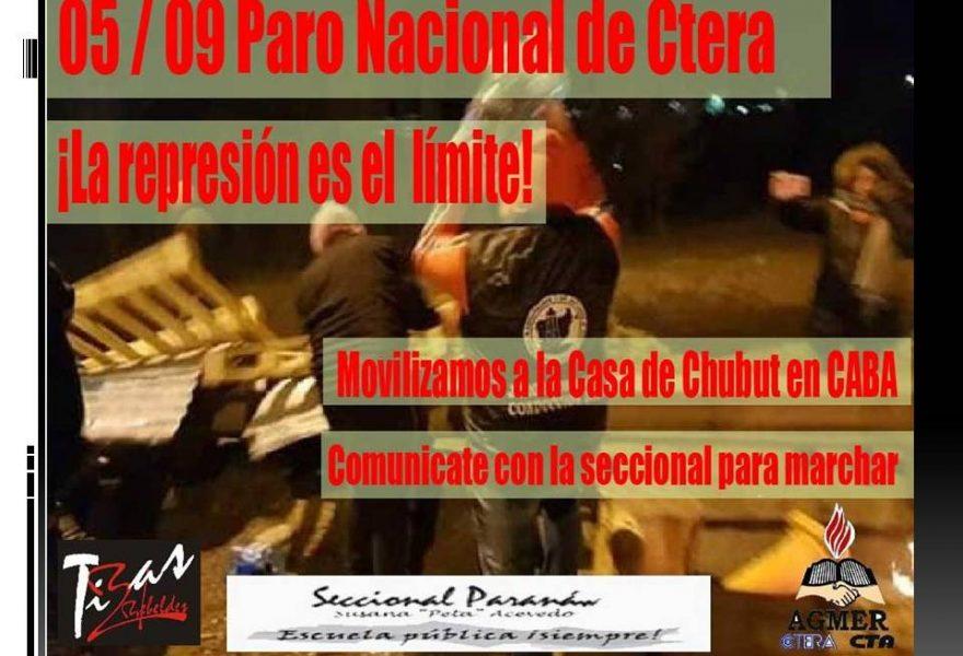 Paro Nacional. 5 de setiembre de 2019. Movilizamos a la Casa de Chubut en Buenos Aires
