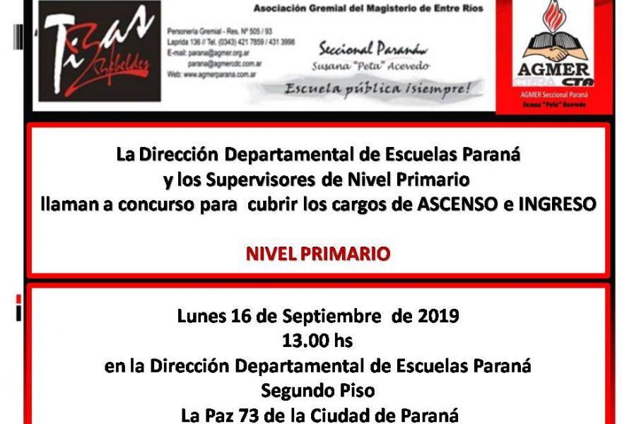 Lunes 16 de Septiembrede 2019. Concurso para  cubrir  cargos de ASCENSO e INGRESO