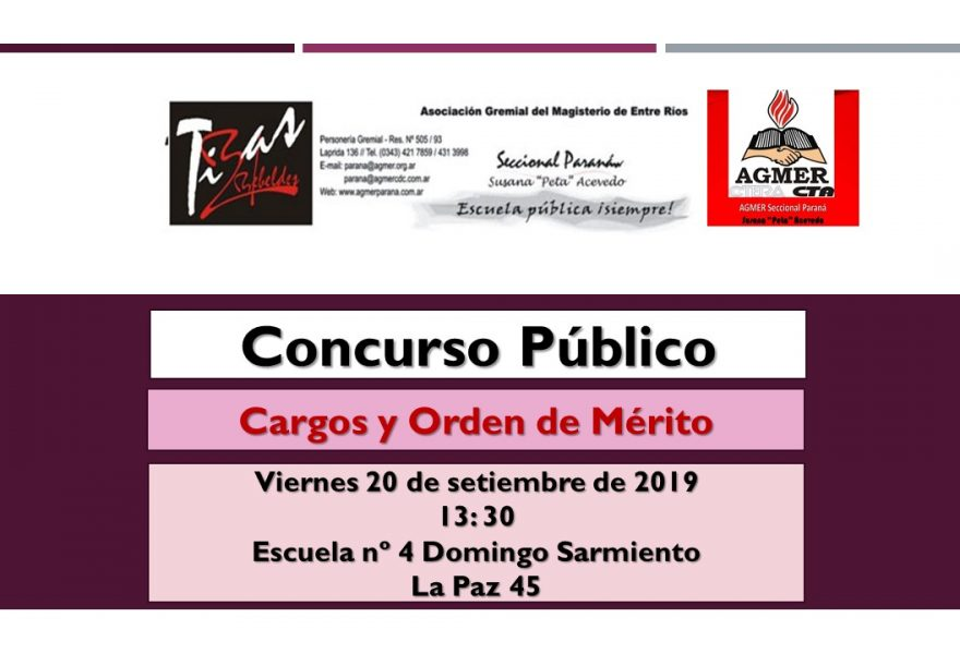 Viernes 20 de setiembre de 2019. Concurso Público. Cargos y Orden de Mérito