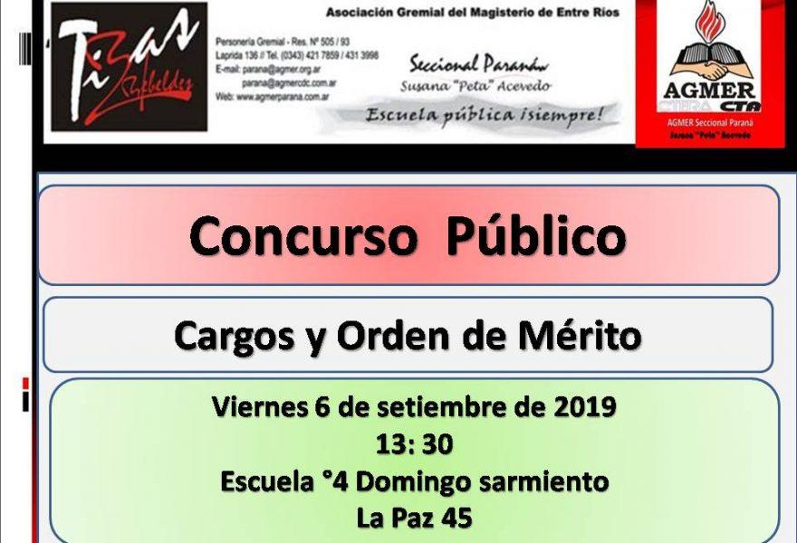 Viernes 6 de setiembre de 2019. Concurso Publico . Cargos y Orden de Mérito