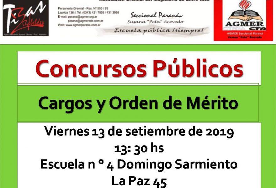 Viernes 13 de setiembre de 2019. Concurso Público. Cargos y Orden de Mérito