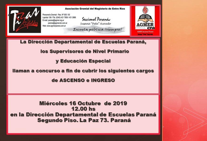 Miércoles 16 de Octubre de 2019. Concurso de Ascenso e Ingreso . Nivel Primario y Educación Especial