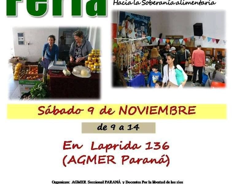 Sábado 9 de Noviembre de 2019. Feria de alimentos saludables. Agmer Paraná
