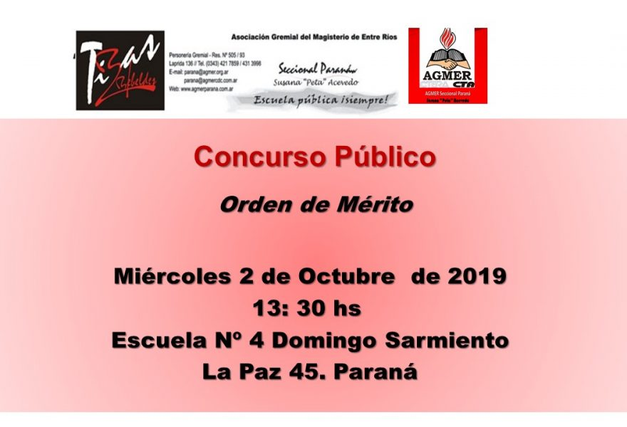 Miércoles 2 de Octubre de 2019. Concurso Público. Orden de Mérito