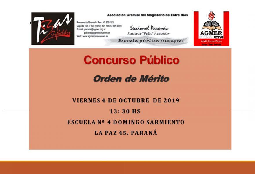 Viernes4 de Octubrede 2019. Concurso Publico. Orden de Mérito