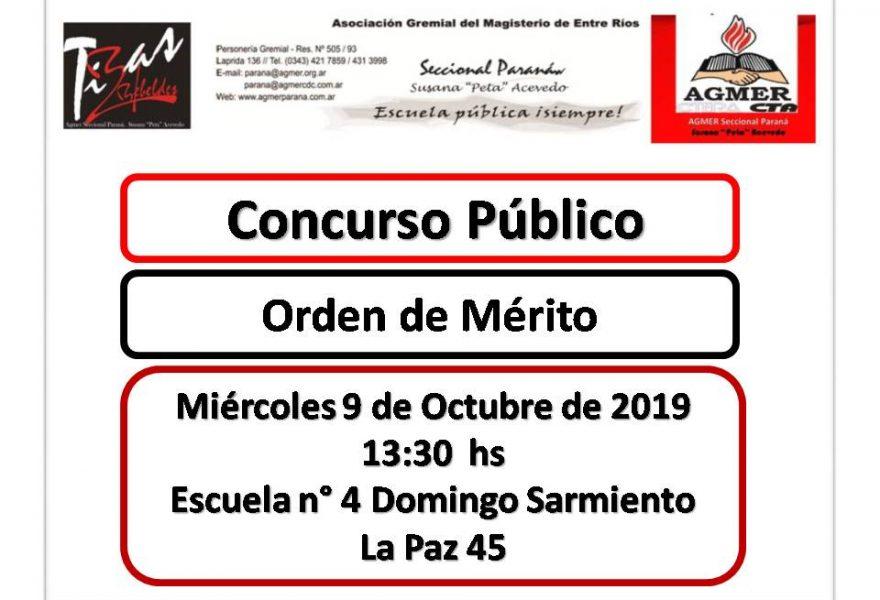 Miércoles 9 de Octubre de 2019. Concurso Público. Orden de Mérito
