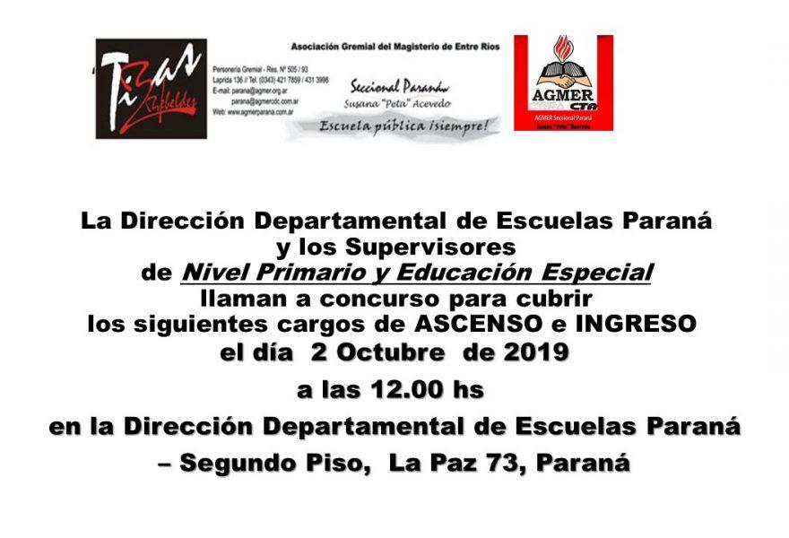 2 de Octubre de 2019. Concurso de Ascenso e Ingreso.  Nivel Primario y Educación Especial