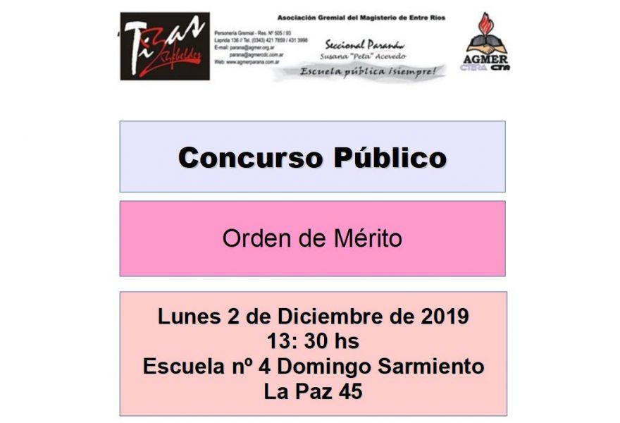 Lunes 2 de diciembre de 2019. Concurso Público. Orden de Mérito
