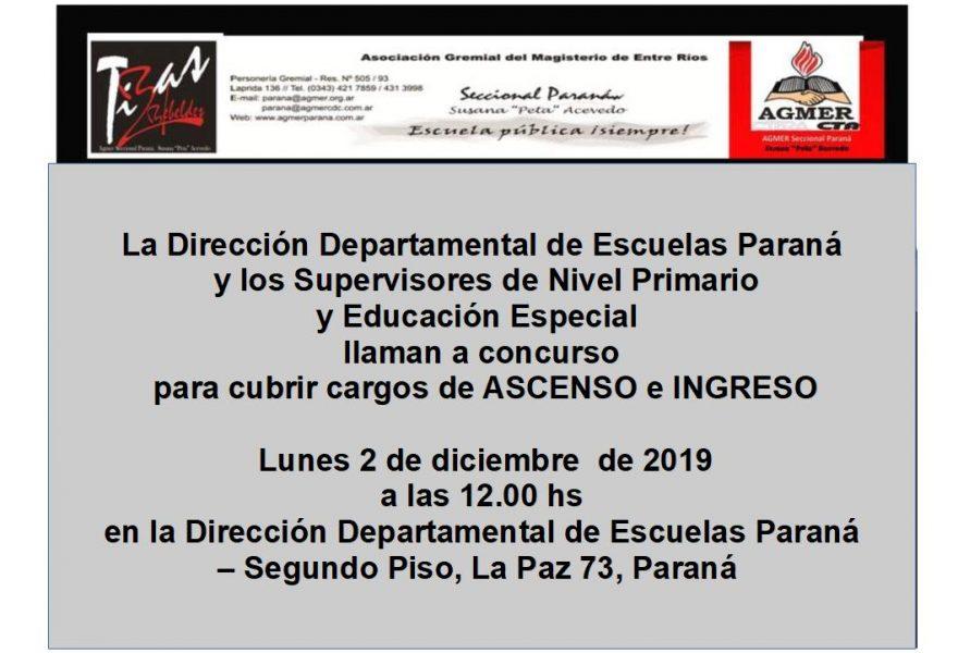 Lunes 2 de diciembre de 2019. Concurso ASCENSO e INGRESO. Nivel Primario y Educación Especial