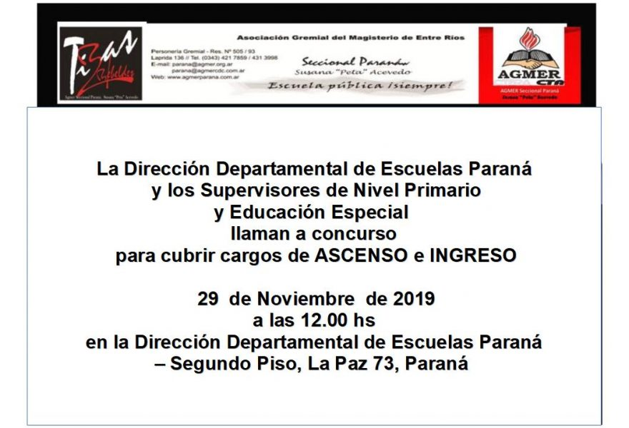 29 de noviembre de 2019.Concurso de Ascenso e Ingreso. Nivel Primario. Educación Especial