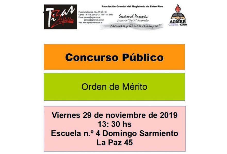 Viernes 29 de noviembre de 2019. Concurso Público. Orden de Mérito