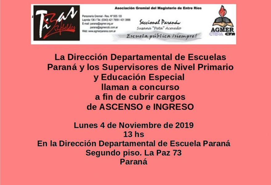 Lunes 4 de Noviembre de 2019. Concurso de Ascenso e Ingreso
