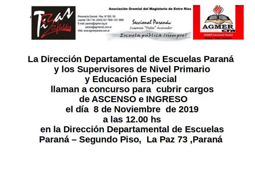 Viernes 8 de Noviembre  de 2019. Concurso Ascenso e Ingreso.