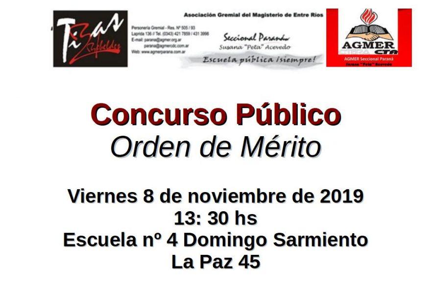 Viernes 8 de noviembre de 2019. Concurso Público. Orden de Mérito