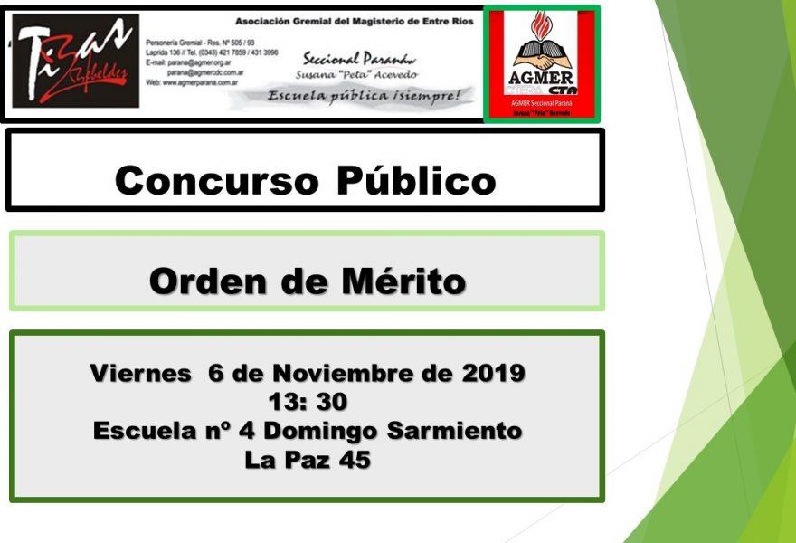 Miércoles 6 de noviembre de 2019. Concurso Público. Orden de Mérito