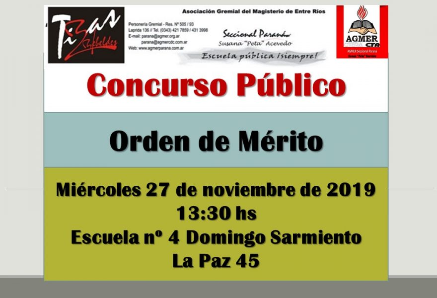 Miércoles 27 de noviembre de 2019. Concurso Público. Orden de Mérito
