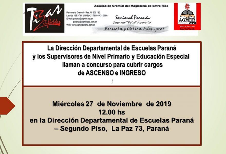 Miércoles 27 de noviembre de 2019. Concurso de Ascenso e Ingreso. Nivel Primario, Educación Especial