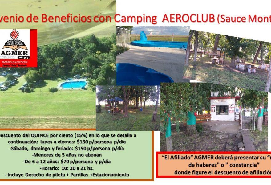 Convenio de Beneficios con Camping  AEROCLUB