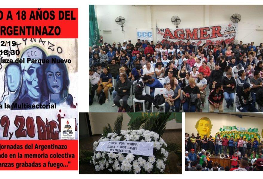 """Documento de la Multisectorial con motivo de conmemorarse 18 años del """"Argentinazo"""""""