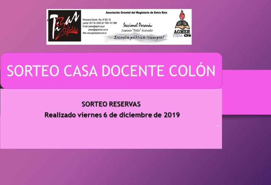SORTEO CASA DOCENTE COLÓN – RESERVAS – TEMPORADA ALTA 2019
