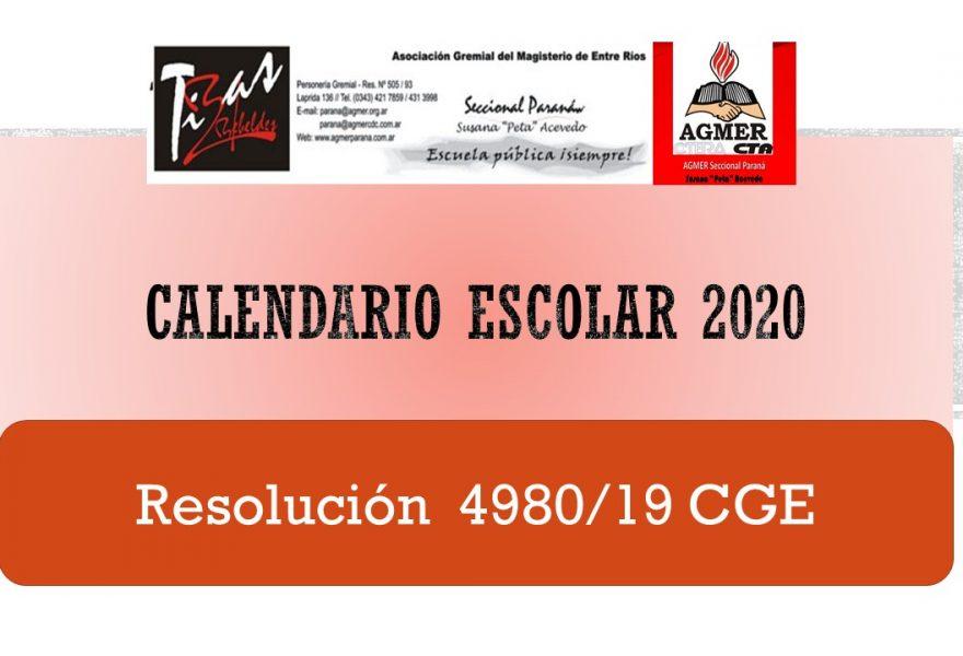 Calendario Escolar 2020 (Res. 4980/19 CGE)