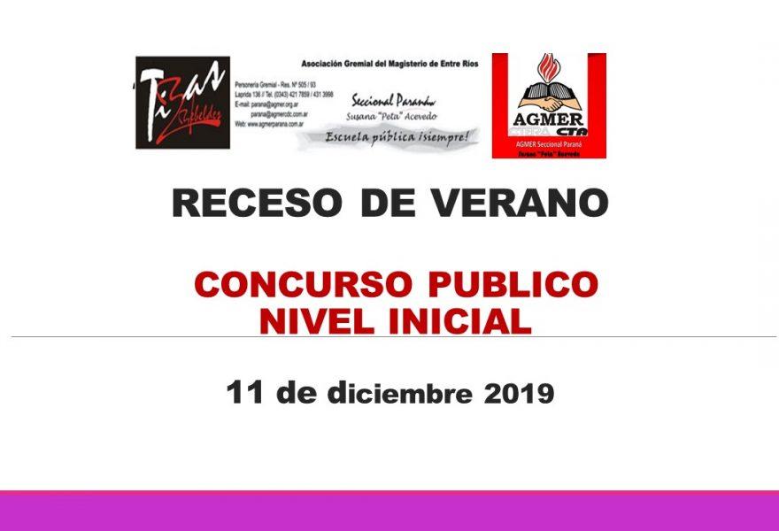 Receso de Verano.  Concurso Publico. Nivel Inicial del día  11 de diciembre de 2019