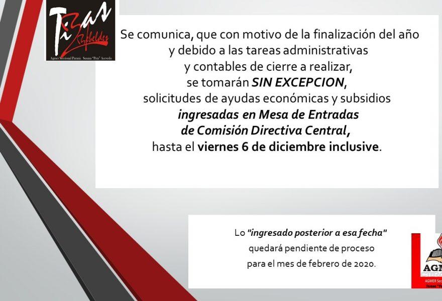 6 de diciembre, Fecha de cierre para solicitudes de ayudas económicas y subsidios