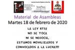 Material de Asambleas. Martes 18 de Febrero de 2020